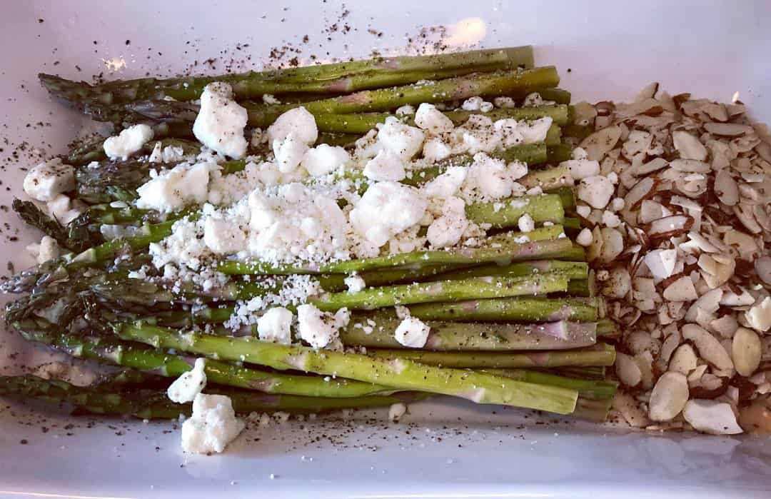 Asparagus with Almonds & Feta/Goat Cheese